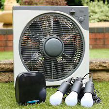 PK Green 12V DC Fan with Lithium Battery + 3 LED Bulbs Travel Cooling Kit