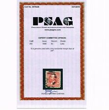 GENUINE SCOTT #282 VF-XF USED PSAG CERT 1898 LAKE 6¢ CHESTER GARFIELD