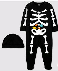 Just One You Carter's Baby NB Halloween Skeleton Sleep N Play Footie & Hat Set