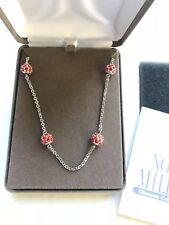 NOLAN MILLER NECKLACE ROUND Pave Silver Tone Red Crystal Runaround Glamour Bead