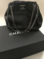 AUTH CHANEL Black Python Leather Evening Bag Purse Classic Shoulder Bag Silver