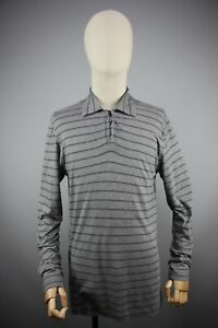 Zegna Sport Classic Gray Striped Long Sleeve Collared Pullover Size M