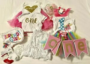 Huge Girls 1st Birthday Mud Pie Etsy LOT Outfit Tutu Banner Bloomers Cupcake One