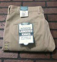 ALK Authentic Laundered Relaxed Fit Flat Front Khaki Pants Men's Size 40 x 32
