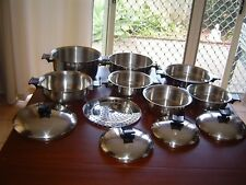 12pc NEW KNOBS + HANDLES RENA WARE 3 PLY STAINLESS STEEL SAUCEPANS, FRYPAN, LIDS