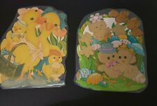 Two Vintage Cardboard Easter DieCut Decorations Spring Ducks Chicks Wall