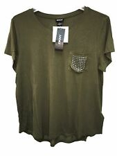 NWT DKNY Women's Scoop Neck Bling Pocket Tee Short Sleeve T-Shirt Moss Green XL