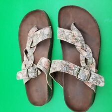 Women's White Mountain Gracie Molded Footbed Sandals Leather Brown Multi Floral