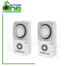 2 x PowerPlant Heavy Duty 24 Hour 15 min Hydroponic Grow Light Timer 600w Plug