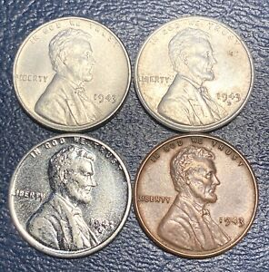 1943 Lincoln P D & S And 1943 Copper Plated Cent *Nice Lot*