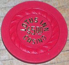 $5 VINTAGE 1ST EDITION GAMING CHIP FROM THE LOTUS INN CASINO LAS VEGAS R8