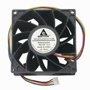 DC12V 1.0A 9cm 92x92x38mm 4-line 4-pin double ball bearing PWM cooling fan