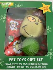Dr. Seuss Grinch Pet Toy Gift Set Small Dogs Bone Rope Ball Toys NEW In Box