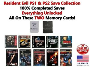 Resident Evil 2 3 4 Save Collection PS1 PS2 Memory Card 100% Completed Saves
