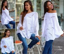 NEU 36 (S) ✰ Traumhafter Strick Long Pullover Oversize Strickmuster ✰ Weiß Italy