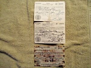 3 - 1931, 1932, 1933 Michigan Resident Trout Fishing Licenses in good shape - NR