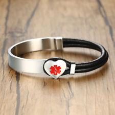 Men Medical Alert ID ICE Emergency Bracelet Heart Charm Wristband Free Engraving