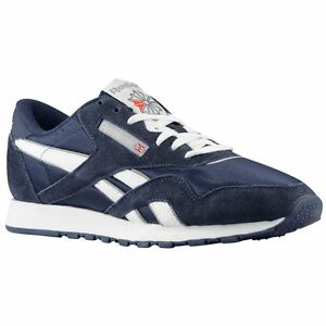 Reebok 39749 CL Nylon Team Navy/Platinum Casual Walking Comfort Sneakers
