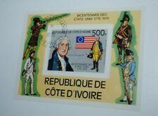 Ivory Coast postage stamp mini sheet, George Washington, canceled #EWG1213