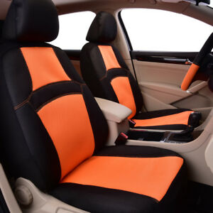 Universal 2 Front Car Seat Covers Airbag Colorful Rainbow Orange Breathable Mesh