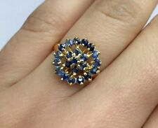 14k Solid Yellow Gold Round Ring, Natural Sapphire. Sz 8, 2.80 Grams