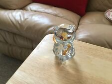 Small Fenton Clear Glass Teddy Bear With A Gold Ribbon And A Blue Heart