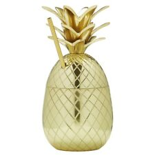 Brilliant - Brass Pineapple Cocktail Cup with Straw, 10 oz