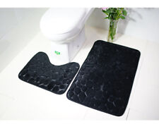 Black 2set Goose Stone Styles Bathroom Rug Set Bath Mat Contour Toilet Lid Cover