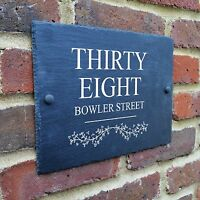Rustic Slate House Gate Sign Plaque Door Number Personalised Name Plate A4 size