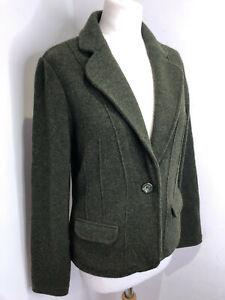 Laura Ashley moss green wool knit fitted blazer jacket UK 12 VGC classic