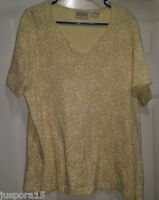 Basic Editions Size 1X Shirt Top Blouse Yellow Tan Green Floral
