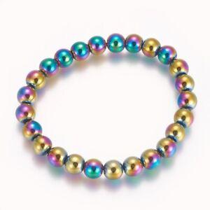 Natural Hematite Rainbow Stretch Bracelet Chakra Healing 8mm UK