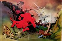 RALPH BAKSHI WIZARDS PRODUCTION BACKGROUND SETUP OF DEMON HORDE SLAYING ELVES
