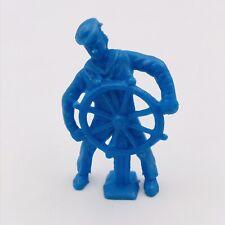 """Vintage Tim Mee Blue Sailor Ship Wheel Plastic Figurine 3"""" Tall 1.5"""" Wide"""