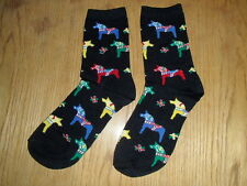 Scandinavian Swedish Dala Horse Black Socks