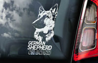 German Shepherd - Car Window Sticker - Alsatian Dog on Board Sign GSD Decal -V05