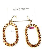 Nine West Gold Oval Chain Dangle Drop Earrings NWT