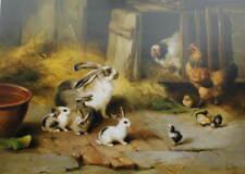 Bunny Rabbits Chicken, Chicks by edgar Hunt  vintage art