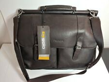 Solo laptop bag. Classic portfolio. Up to 16 in. Dark brown. Leather body