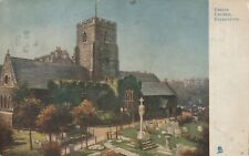"""""""Hundred Year old postcard from collection"""" Folkestone, Parish Church"""