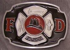 Pewter Belt Buckle Fire Fighter Fireman NEW black and white