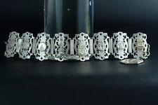 1900 Fine antique large bracelet SOUVENIR OF PARIS FRANCE EIFFEL TOWER feligree