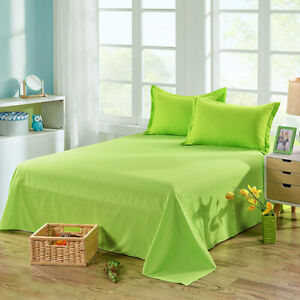 Solid Colors Fitted Bedding Cover Bed Sheets Polyester Soft Bedroom Home Decor