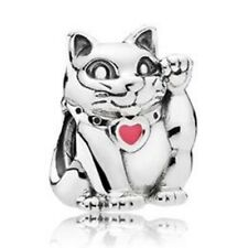 Lucky Waving Chinese Cat European Charm With Pink Gift Pouch - Silver Tone