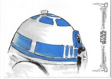 2018 Star Wars Black & White A New Hope Michelle Rayner R2-D2 Color Sketch 1/1