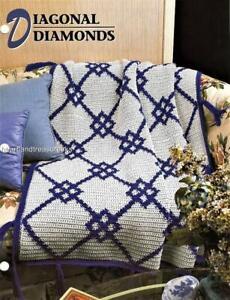 Diagonal Diamonds Annie's Attic Crochet Afghan Pattern Leaflet
