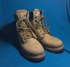 Mens Size 9 Ex-Wide Brahma Tan Leather Thermolite Work Boots Slip Resistant GOOD