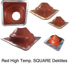 Dektite Pipe Flashing: Red High Temp Silicone Pipe Boot Square Flashing #1 - #9