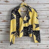 Joseph Ribkoff Women's Yellow Black Printed Full Zip Veston Jacket Size 8