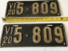 1920 Vermont License Plates Set  VT Early Auto Tags 5-809